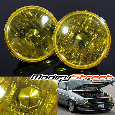 "7"" ROUND H6024/H6017/H6014 SEMI SEALED YELLOW GLASS LENS CRSYTAL HEADLIGHTS LAMP"