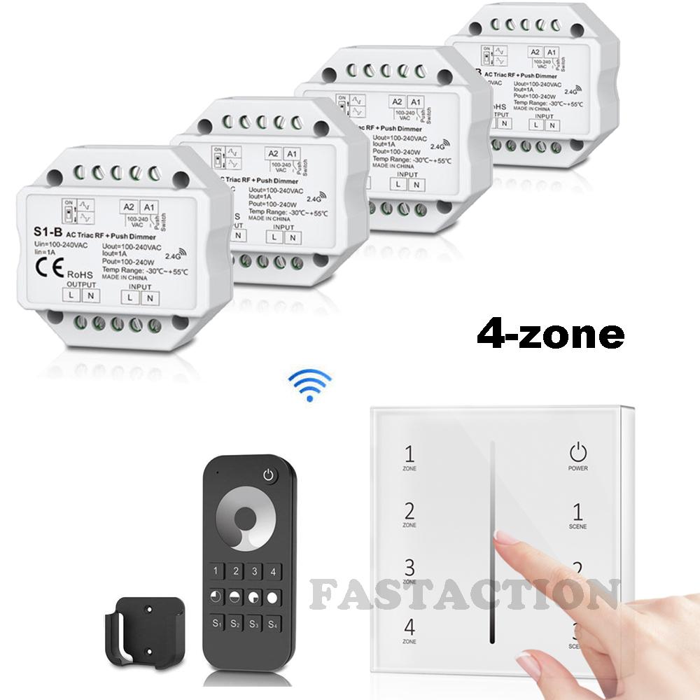 230V 2.4G Wireless AC Triac LED Dimmer Trafo mit 4-Zonen RF Touch Fernbedienung