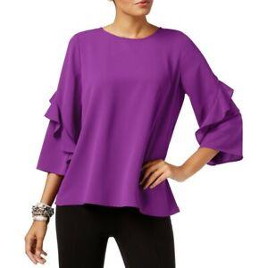 ALFANI-NEW-Women-039-s-3-4-Ruffled-sleeve-Zip-back-Blouse-Shirt-Top-TEDO