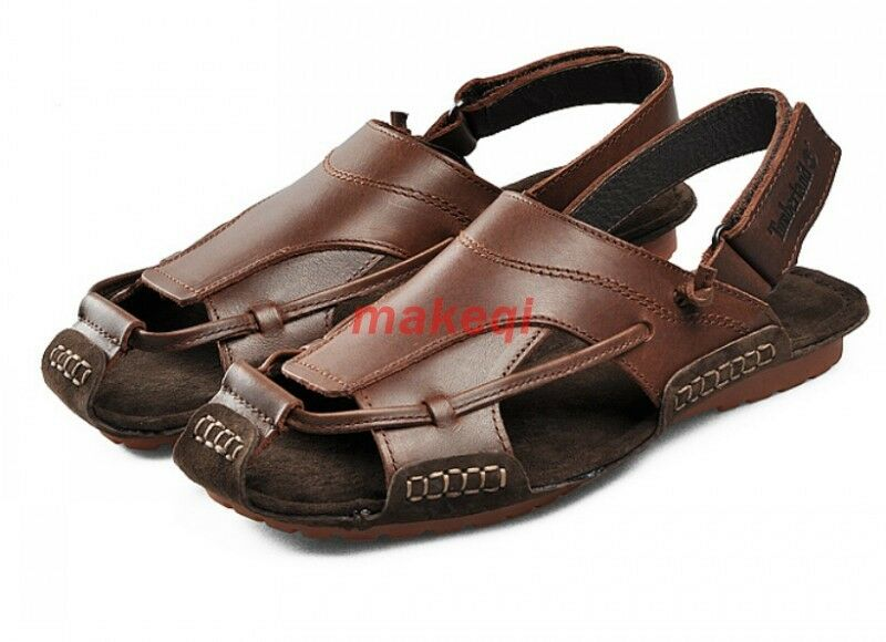 New Mens Casual Close Toe Leather Roman Style Slip On Sandals shoes US Size Hot