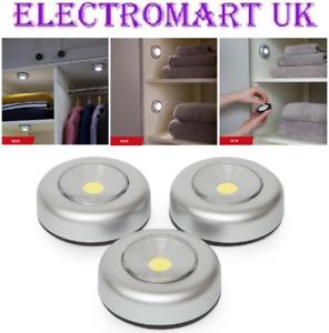 3-X-BATTERY-POWERED-LED-COB-STICK-ON-PUSH-TOUCH-LIGHTS-CABINET-CARAVAN-MOTORHOME