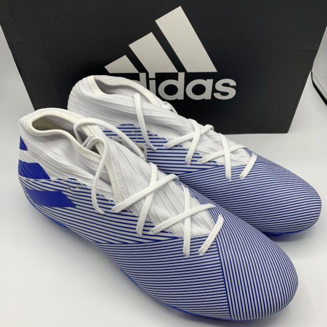 Adidas Nemeziz 19.3 FG Soccer Cleats EG7202 Men's Size 10.5---White/ Blue