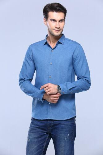 New Men Cotton Floral Collar Blue Chambray Fashion Casual Denim Top Jean Shirt