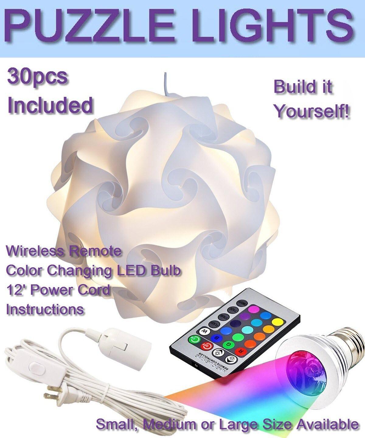GEOSPHERE White Puzzle Lamp 30 pcs Kit Includes Power Cord, LED Light USA