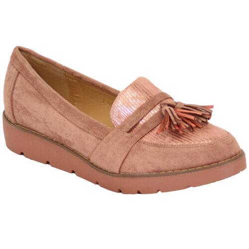 Details about  /Ladies Suede Look Loafers Vintage Shoes Womens Wedge Slip On Tassel Fringe Party