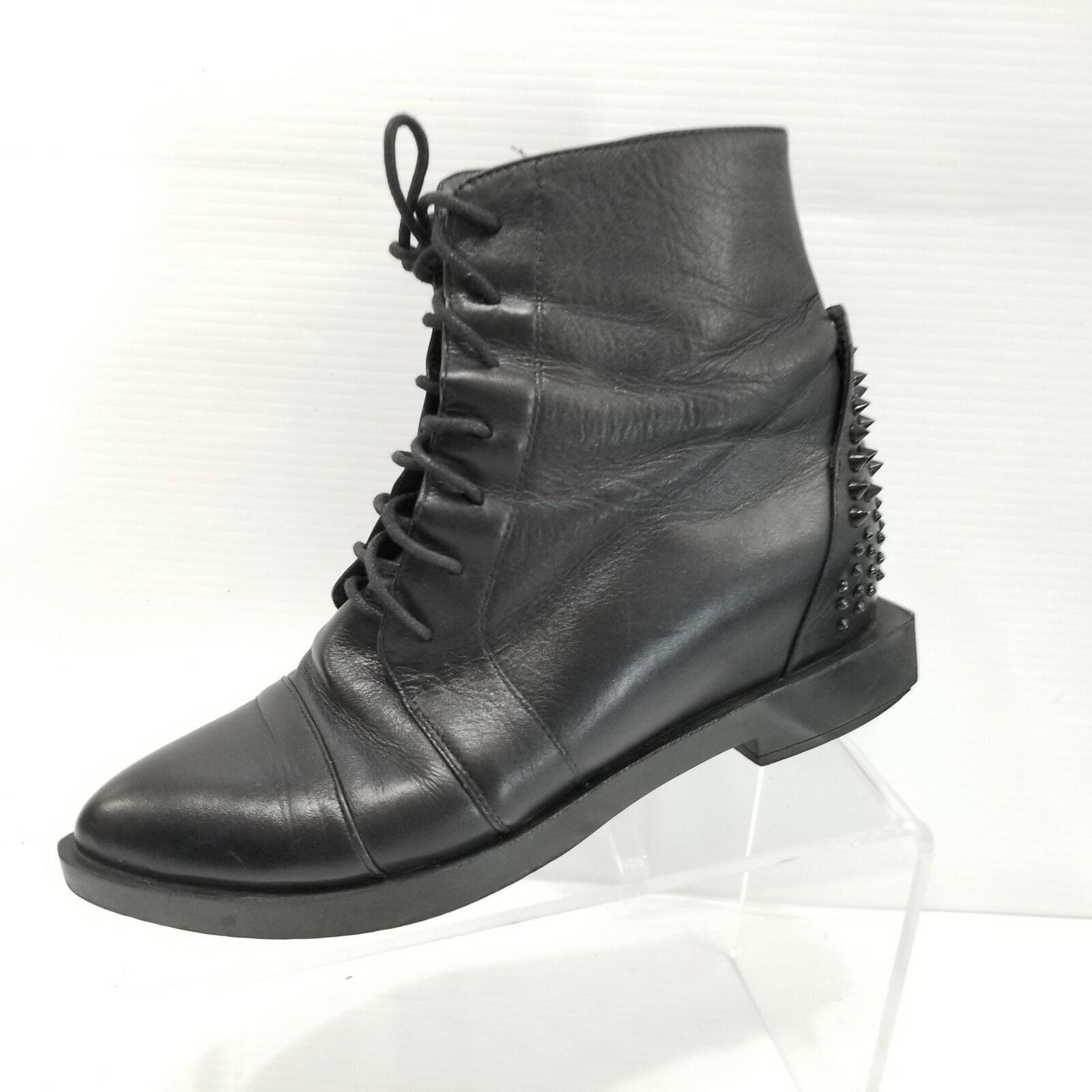 Ying Ai Black Leather Ankle Boots Point Toe Spikes Korean Size 230 / US 6
