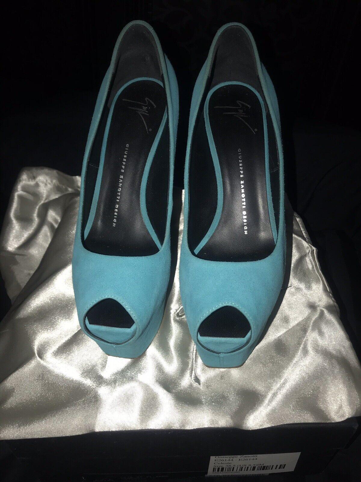 Giuseppe Zanotti Turquoise Celeste Peep Peep Peep Toe Pump 38.5 1cb8af