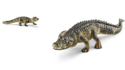 Schleich Wild Life 14727 et 14728 Alligator et Alligator jeune NEUF