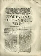 Florentina Testamenti Antico Documento Settecentesco di Cosimo Pellegrini 1701