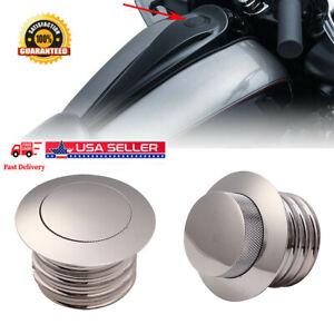 Flush Pop Up Reservoir Oil Cap Vented Fuel Tank For Harley Bike Chrome