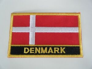DENMARK FLAG PATCH BADGE IRON ON NEW EMBROIDERED