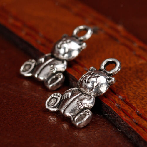 20X Antique Silver Double sided Cute teddy Bear Charms Pendants Findings