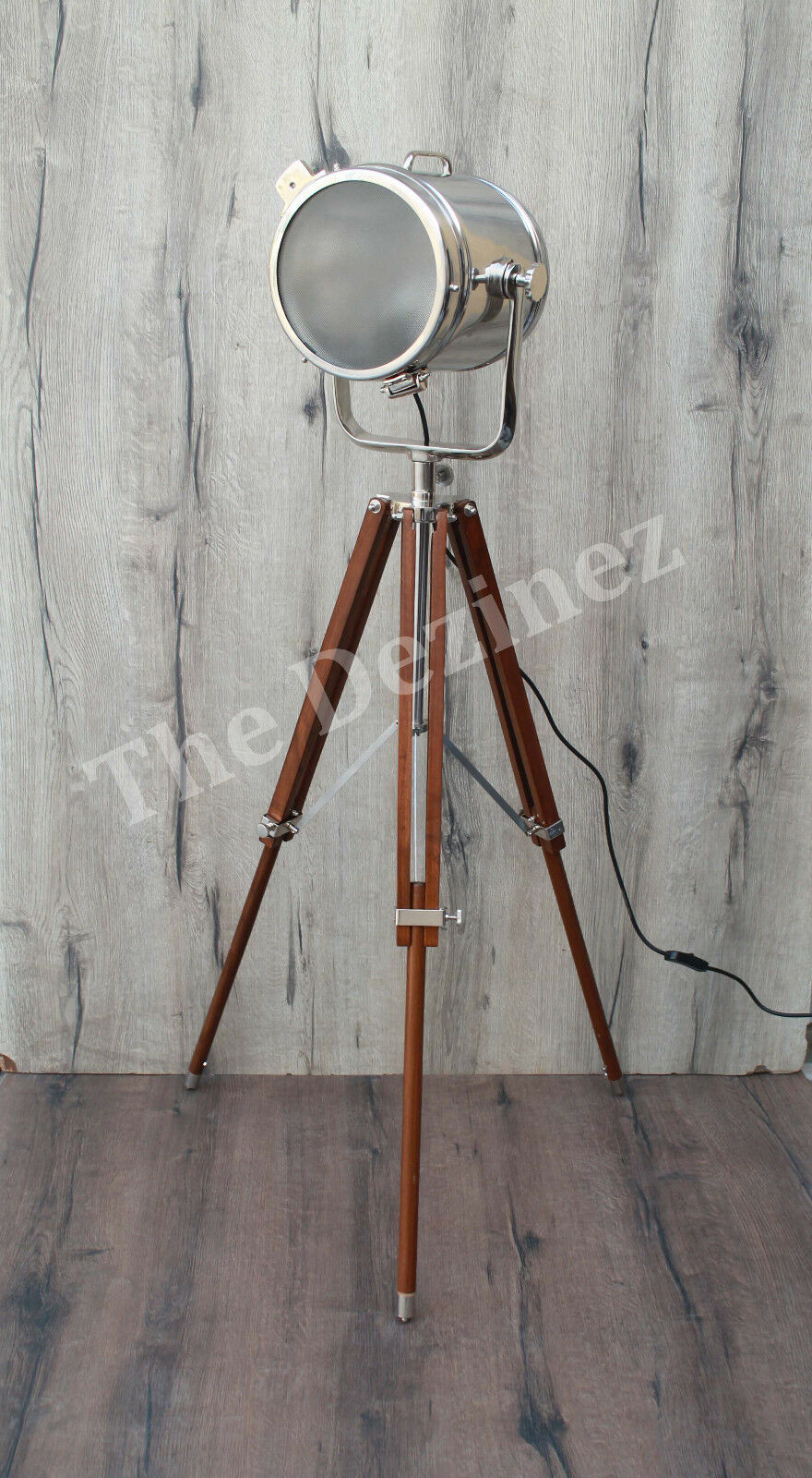 Corner Nautical Floor Lamp with Frosted Glass & Mahogany Adjustable Tripod Stand