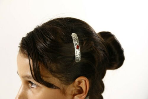 Details about  /C1990s Navajo Natural Carnelian Agate Hand Stamped 925 Silver Handmade Hair Clip