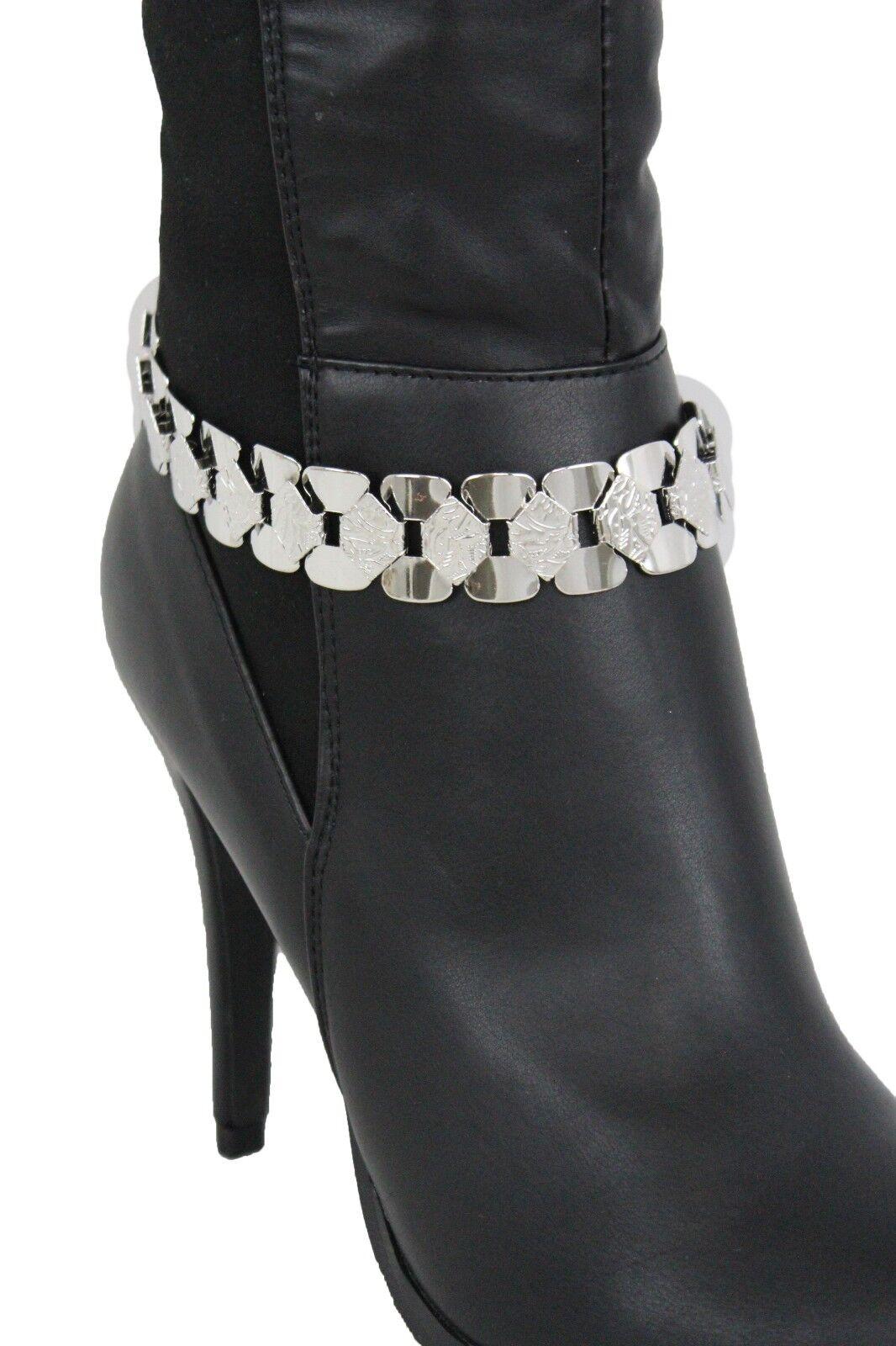 Women Western Silver Mesh Metal Link Chain Boot Bracelet Shoe Charm Classy Style