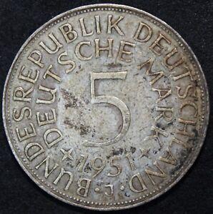 1951 J | Allemagne 5 mark | Argent | Pièces | KM Pièces-afficher le titre d`origine