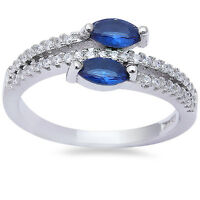 Marquise Cut Blue Sapphire & Cz Fashion .925 Sterling Silver Ring Sizes 5-9