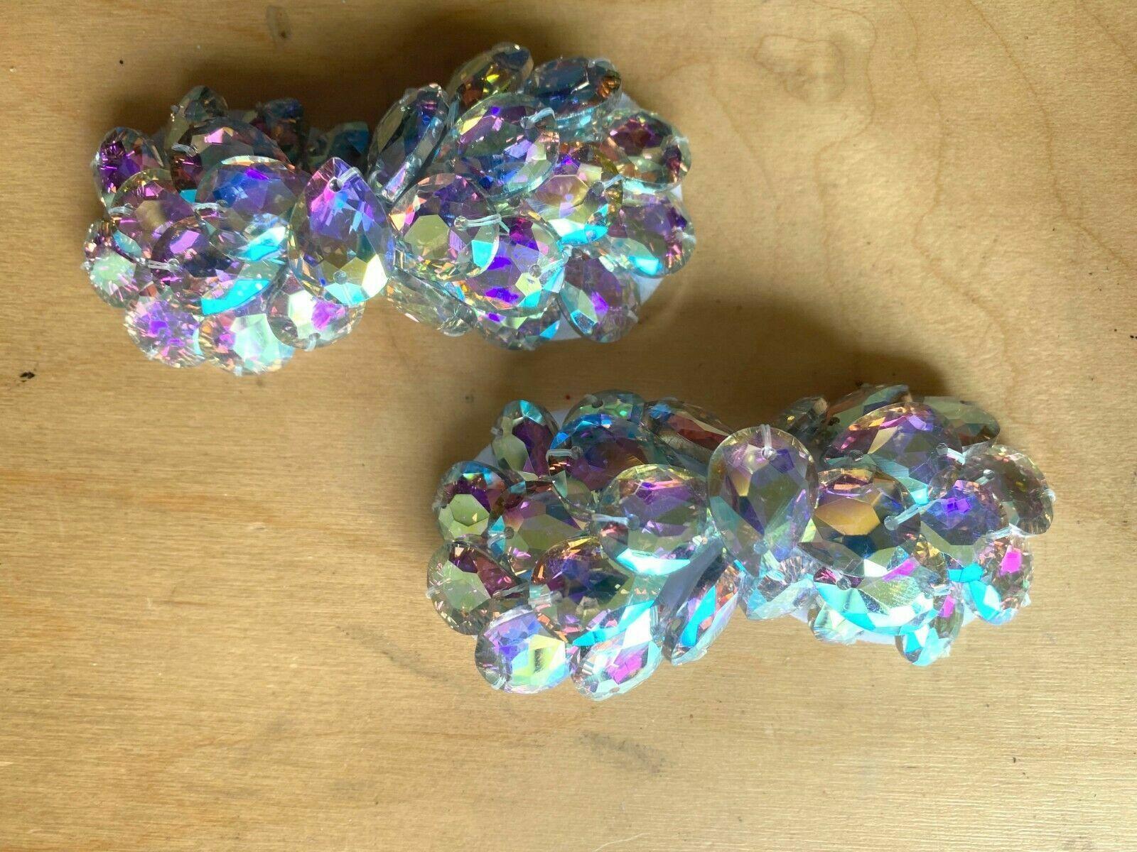 2 Pcs Fashion Rhinestone Crystal Aurora Bowknot Shoe Clips Shoe Charms