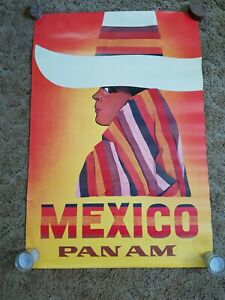Original-1960s-Mexico-Pan-Am-Airlines-Travel-Poster-Woman-Sombrero