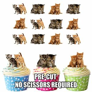 PRECUT-Cats-Kittens-12-Edible-Cupcake-Toppers-Birthday-Decorations