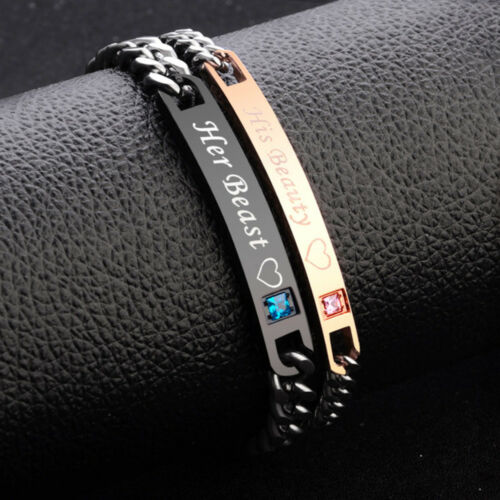 His girlfriend and Her Boyfriends Stainless Steel Couple Bracelet Lovers Gift UK