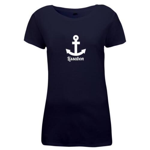 Damen T-Shirt Portugal Urlaub Lissabon Anker
