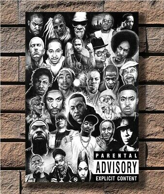 "PA013 Hip-Hop Rap Gods Media Rappers Collage Fan Art Hot 40/"" FABRIC Poster N3107"