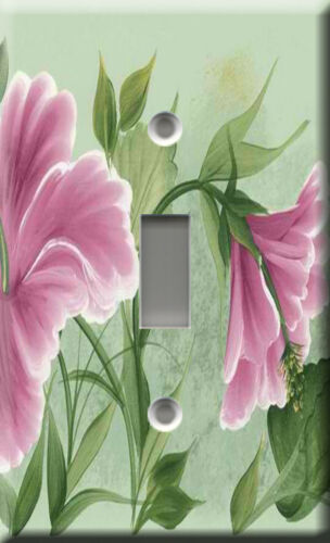 Floral path pink Light Switch Plate Cover Botany vegetation blossom plant