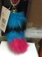 Betsey Johnson Trolls Handbag Dangle Blue Black Pink Keychain T14