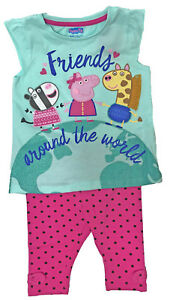 Kids-Peppa-Pig-Childrens-Top-amp-Cropped-Pants-Summer-Holiday-Outfit-Ex-Stock-New