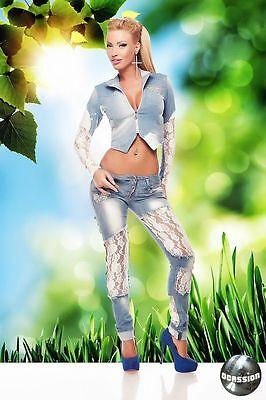 Damenjeans Röhrenjeans Spitze Damenhose Hüftjeans Jeans Hose Blau XXS XS S M L