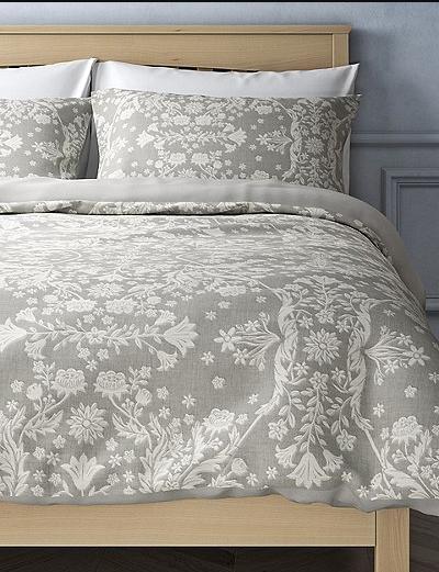 Marks & Spencers Single Bedset Floral Jacquard Light Olive NEW (A)