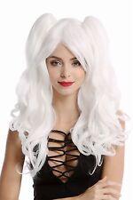 Perruque Pour Femme Cosplay 2 Pigtails lang ondulés Gothique Lolita Japan blanc
