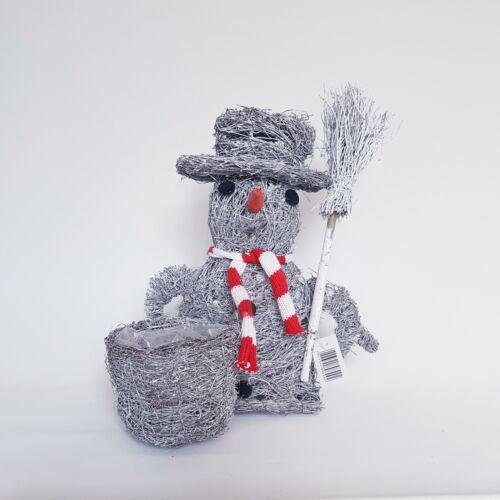 Noël planteuse de brindilles bonhomme de neige en rotin Plante Pot Cadeau Jardin Décoration Maison