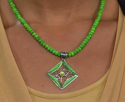 "Jay King Lemon Lime Green Turquoise /& Peridot Pendant w  Beaded 18/"" Necklace NWT"