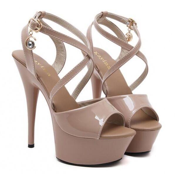 Sandali pelle sintetica 14 plateau beige eleganti cinturino stiletto  CW475