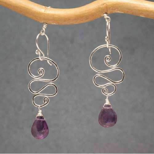 """1-1//2/"""" Long Hammered Wired Swirl Drop Earrings with Your Choice of Gemstone"""