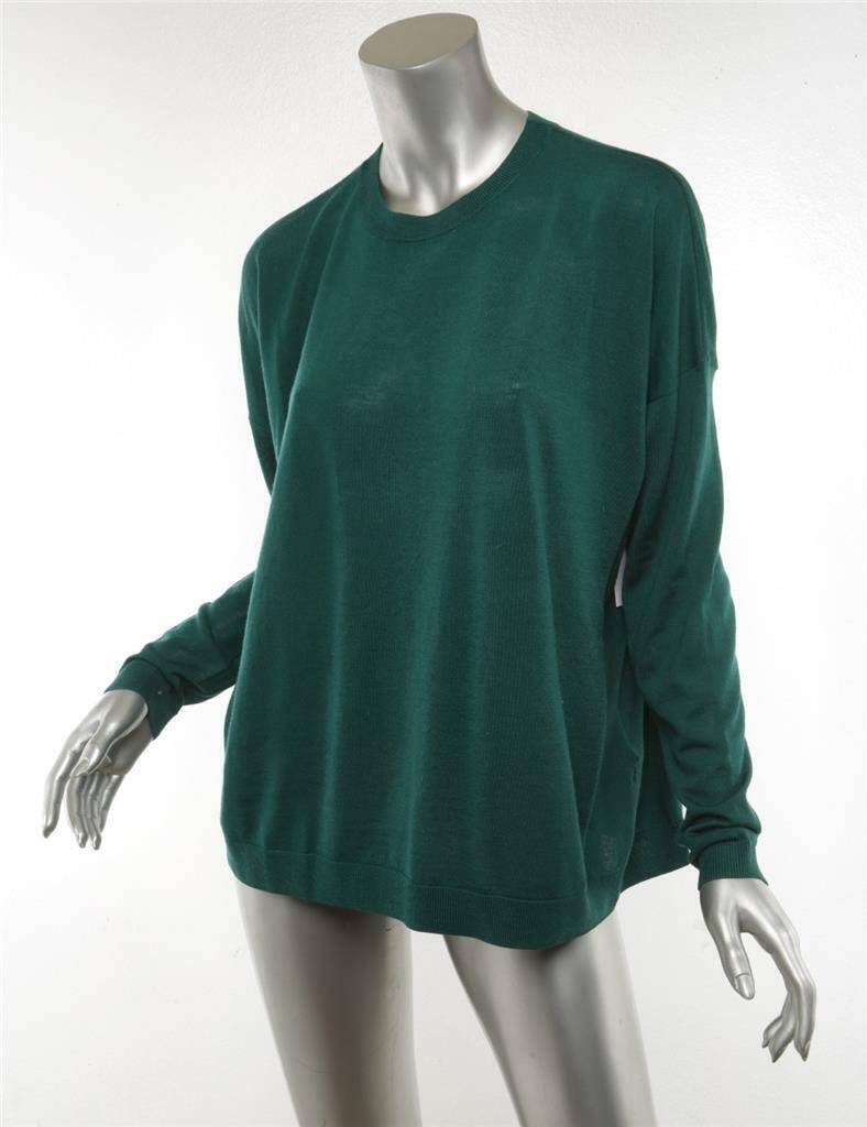 ACNE STUDIS kvinnor grön CHAREL MERINO Wool Pulver Long Sleve tröja XS ny