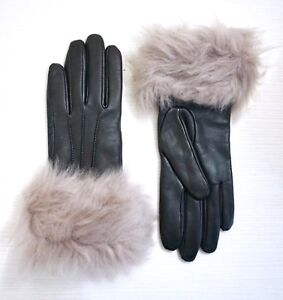 UGG-Women-s-Toscana-Shearling-Black-Leather-Smart-Tech-Gloves-Gray-Shearling-S