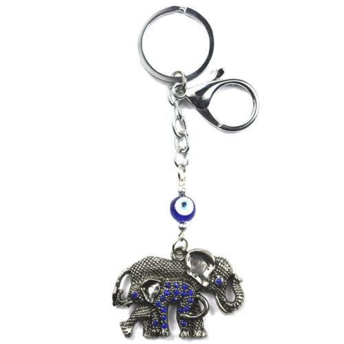 Turkish Blue Evil Eye Elephants Keychain Key Chain Ring Amulets Pendant Blessing