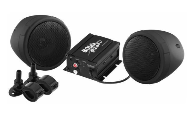 BOSS AUDIO 600 WATT 2 SPEAKER SOUND SYSTEM BLACK HARLEY DAVIDSON MOTORCYCLES ALL