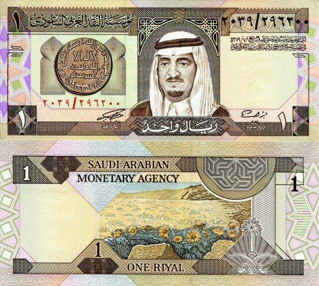Saudi Arabia 1 Riyal Banknote World Paper Money Unc Currency Pick P 21d King