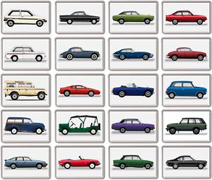 Kühlschrank Magnet - Britisch Klassisch Auto Auswahl - Große Acryl,Vintage,Retro