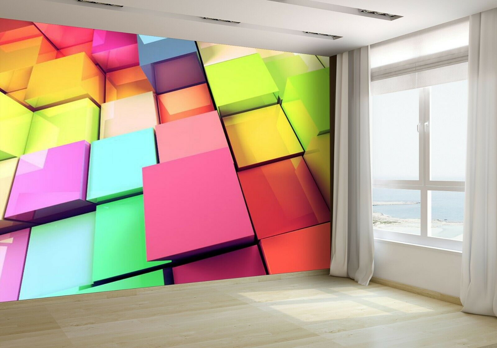 Abstract 3d ColGoldt Cubes Wallpaper Mural Photo 18586163 budget paper