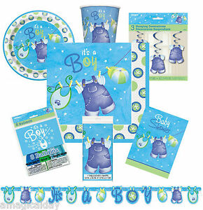 Blue clothesline boy baby shower decorations tableware for Baby shower clothesline decoration
