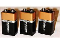 3 x 9 Volt (9V) Duracell CopperTop Duralock Alkaline Batteries (MN1604, 6LR61)