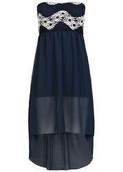 B17059025 Damen Violet Kleid Bandeau Kleid Spitze 2-lagig Brustpads blau