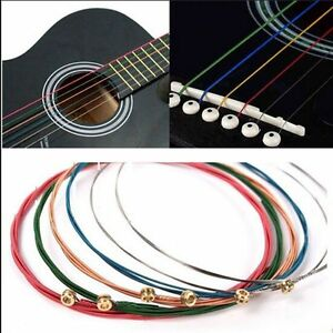 New-6Pcs-Steel-Rainbow-Colorful-Color-Strings-for-Acoustic-Guitar-High-Quality