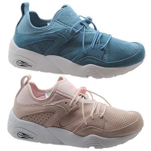 on sale d4adb 0c188 Details about Puma Trinomic BOG Blaze of Glory Soft Womens Trainers Shoes  Pink Blue 360412