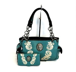 Montana-West-Floral-Embroidery-Purse-Wallet-Concho-Western-Country-Handbag